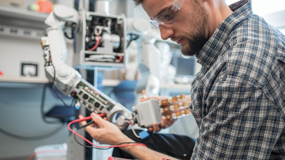Student works in Robotics Lab